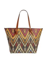 Etro | Brown Paisley Print Coated Canvas Tote Bag | Lyst