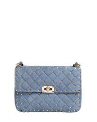 Valentino Blue Medium Spike Quilted Suede Shoulder Bag