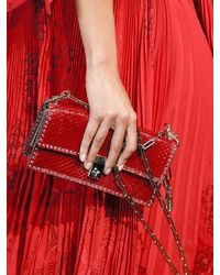 Valentino Red Small Micro Studded Python Shoulder Bag