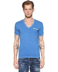 DSquared² | Blue Printed Cotton Jersey V-neck T-shirt for Men | Lyst