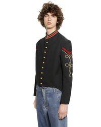 Ports 1961 Black Cotton & Viscose Blend Military Jacket for men