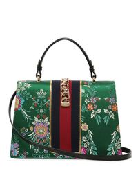 Gucci Green Medium Sylvie Tokyo Print Top Handle Bag