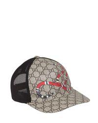 Gucci | Natural Snake Coated Gg Canvas Baseball Hat for Men | Lyst