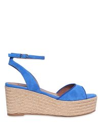 Tabitha Simmons | Blue 80mm Tessa Suede Wedge Sandals | Lyst