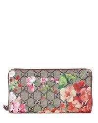 Gucci   Pink Blooms Gg Supreme Zip Around Wallet   Lyst