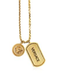 Versace - Metallic Logo Tag & Pendant On Chain Necklace - Lyst