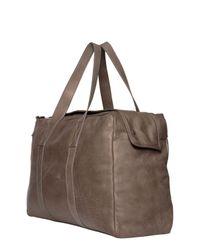 AllSaints Brown Kantji Washed Leather Duffle Bag for men