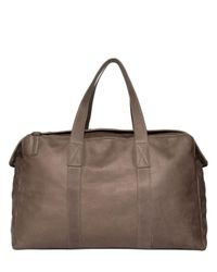 AllSaints | Brown Kantji Washed Leather Duffle Bag for Men | Lyst