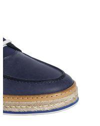 Ferragamo Blue Leather Boat Shoes for men
