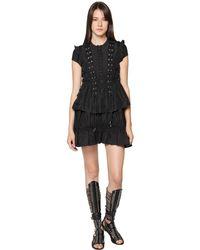 Diesel Black Gold Black Silk Habotai Top W/ Laces