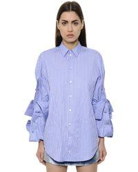 Y. Project Blue Oversized Striped Cotton Poplin Shirt