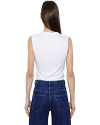 Y. Project White Cut Out Cotton Jersey Tank Top