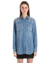 d2514f4a5 Lyst - Tommy Hilfiger Cotton Denim Western Shirt Gigi Hadid in Blue