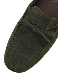 Tod's | Green City Gommino Tie Suede Driving Shoes for Men | Lyst