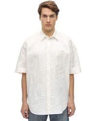 メンズ Balenciaga オーバーサイズコットンシャツ White