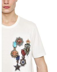 Dolce & Gabbana White Military Printed Cotton Jersey T-shirt for men
