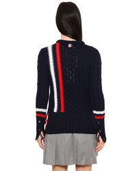 Thom Browne Blue Striped Merino Wool Cable Knit Sweater