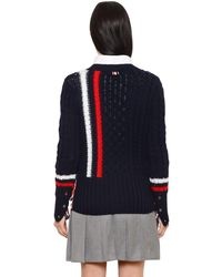 Thom Browne Blue Striped Merino Wool Cable Knit Cardigan