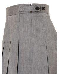 Thom Browne Gray Pleated Wool Twill Mini Skirt
