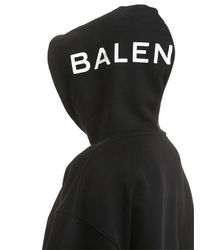 Balenciaga Black Logo Hooded Cotton Sweatshirt