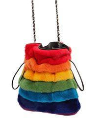Les Petits Joueurs Red Trilly Rainbow Lapin Fur Shoulder Bag