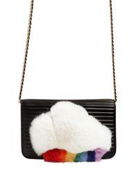 Les Petits Joueurs Black Ginny Cloud Rabbit Fur Shoulder Bag