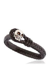 Alexander McQueen - Black Braided Leather Bracelet With Skull - Lyst
