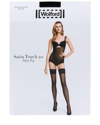 Wolford Black Satin Touch 20 Stay Up Thigh Highs