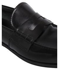 Prada Black Brushed Leather Penny Loafers for men