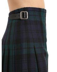 Le Kilt Black Stewart Wool Plaid Skirt