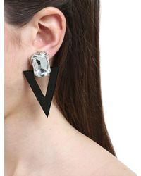 Saint Laurent - Black Rectangle & Triangle Clip-on Earrings - Lyst