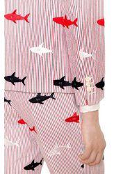 Thom Browne Multicolor Sharks Embroidered Seersucker Jacket for men