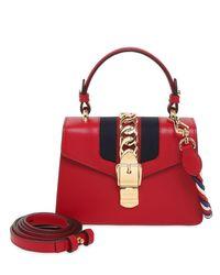 """Borsa Mini """"Sylvie"""" In Pelle di Gucci in Red"""