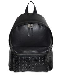 Eastpak - Black 24l Padded Pak'r Eyelet Leather Backpack - Lyst