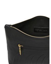Alexander McQueen Black Rib Cage Embossed Leather Pouch for men