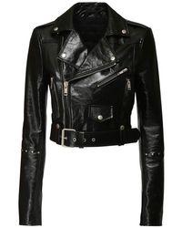 Givenchy パテントレザークロップバイカージャケット Black