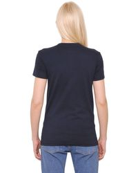 House of Holland Blue Heart Embroidered Cotton Jersey T-shirt