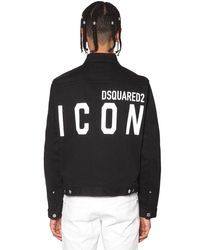DSquared² Black Print Icon Logo Stretch Dan Denim Jacket for men