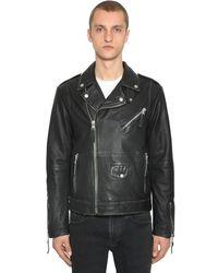 Calvin Klein Bikerjacke Aus Vintageleder in Black für Herren