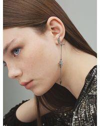 FEDERICA TOSI Black Asymmetrical Long Moon & Star Earrings