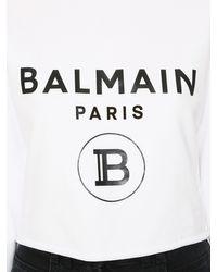 Balmain コットンジャージークロップスウェットシャツ White
