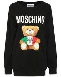 Moschino Italian Teddy Bear コットンスウェットシャツ Black