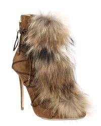 """DSquared² Natural 120mm Hohe Stiefel Aus Wildleder Mit Pelz """"riri"""""""