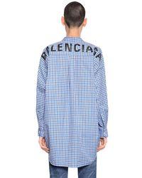Balenciaga - Blue Logo Printed Check Cotton Poplin Shirt for Men - Lyst