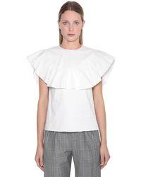 RED Valentino White Bluse Aus Baumwollpopeline Mit Rüschen
