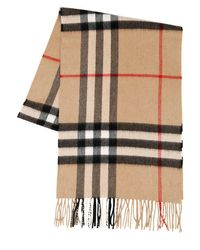 Burberry Natural Classic Check Cashmere Scarf for men