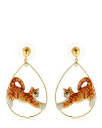 Nach - Orange Ginger Stretching Cat Earrings - Lyst
