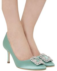 "Escarpins En Satin De Soie ""Hangisi"" 70 Mm Manolo Blahnik en coloris Green"