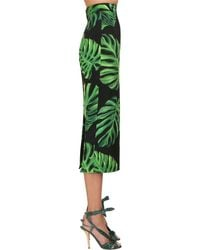 Dolce & Gabbana シルクシャルムーズペンシルスカート Green