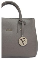 Furla - Gray Mini Linda Saffiano Leather Bag - Lyst